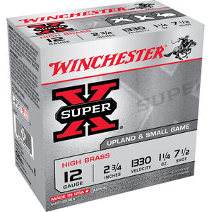 "Winchester Super-X 12 Ga 2.75"" #7.5 Lead 1.25oz 25 rds"