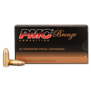 PMC Bronze 9mm Luger Ammunition 50 Rounds FMJ 124 Grains 9G