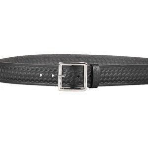 "DeSantis Econo Garrison Belt 1-3/4"" Wide Size 46 Nickel Buckle Leather Basket Weave Black"