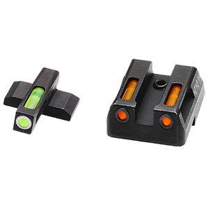 HiViz Litewave H3 Tritium/Litepipe fits HK P30/VP/HK45 Models Green Front Sight with White Front Ring/Orange Rear Sight Steel Housing Matte Black