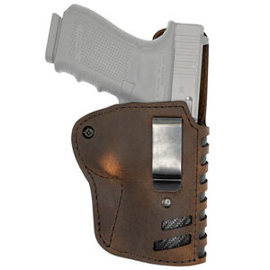 """Versacarry Compound Series Holster IWB Size 3 Most Single Stack Sub Compacts with a 3"""" Barrel Right Hand Leather Distressed Brown"""