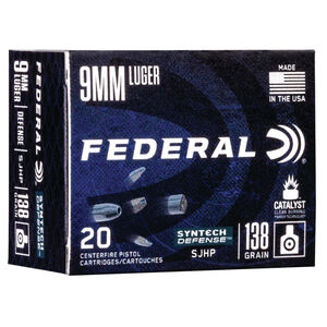 Federal Syntech Defense 9mm Luger Ammunition 20 Rounds 138 Grain Syntech Segmented Hollow Point 1050fps