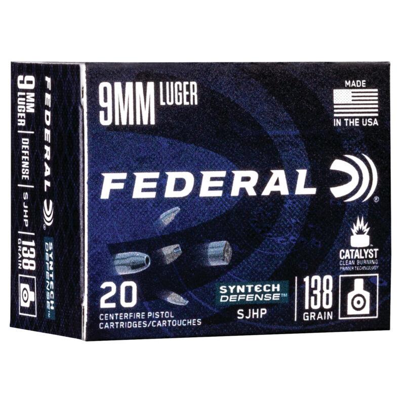 Federal Syntech Defense 9mm Luger Ammunition 20 Rounds 138 Grain Syntech Segmented Hollow Point 1050fps