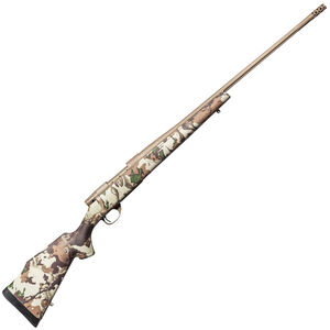 """Weatherby Vanguard First Lite Bolt Action Rifle .300 Wby Mag 3 Rounds 28"""" Barrel with Accubrake First Lite Fusion Camo Synthetic Stock FDE Cerakote Finish"""