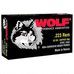 Wolf Performance .223 Remington Ammunition 62 Grain Bi-Metal FMJ Steel Cased 3025 fps