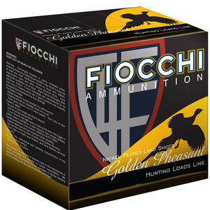 "Fiocchi Golden Pheasant 20 Gauge Ammunition 2-3/4"" #6 Shot Size 1oz Nickel Plated Lead Shot 1245fps"