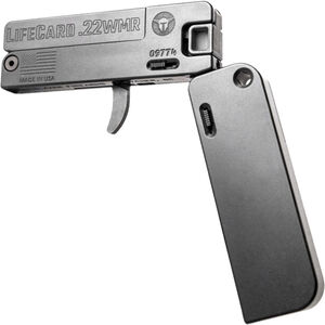 Trailblazer LifeCard .22 WMR Folding Single Shot Pistol 1 Round with 3 Round Ammo Storage Steel Barrel Bolt and Trigger Aluminum Frame Black Finish