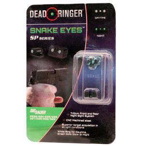 Dead Ringer Hunting Snake Eyes SP Series Replacement Traditional 3 Dot Sight Green Tritium Front/Rear Sight Combo Most SIG Sauer Models CNC Machined Steel Housing Matte Black DR4951