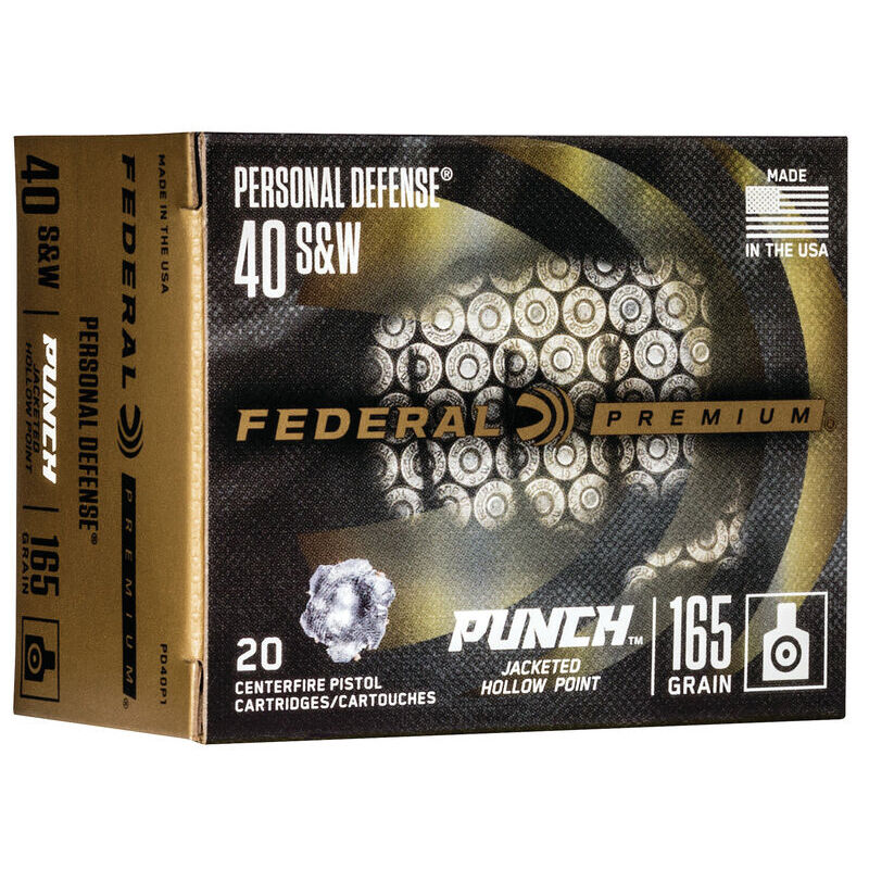Federal Punch .40 S&W Ammunition 165 Grain JHP Nickel Plated Brass Case 1130fps