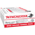 Winchester 9mm Ammunition, 200 Rounds, FMJ, 115 Grains