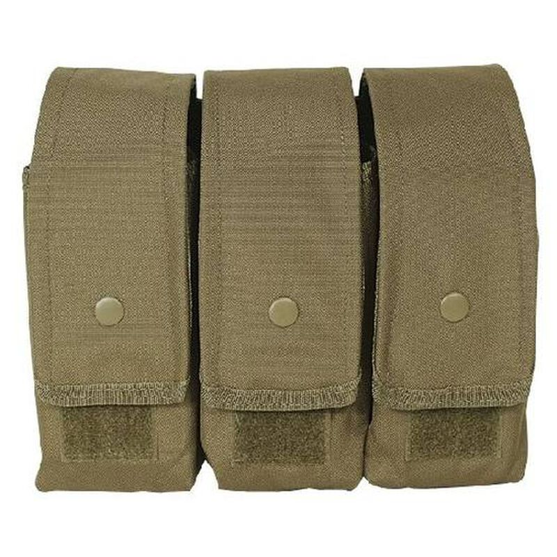 Voodoo Tactical AK47/AK74/M4/AR-15 Triple Magazine Pouch MOLLE Compatible Nylon Coyote Tan 20-8175007000