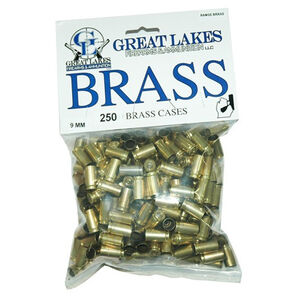 Great Lakes Bullets and Ammunition 9mm Luger Once Fired Brass Cases 250 Pack B687979