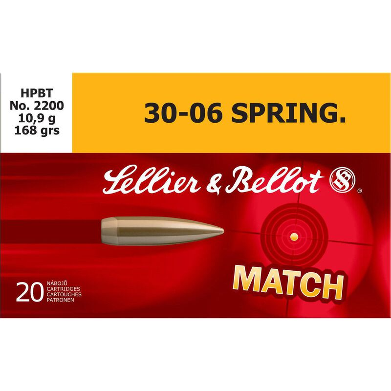 Sellier & Bellot .30-06 Springfield Ammunition 400 Rounds Match BTHP 168 Grains