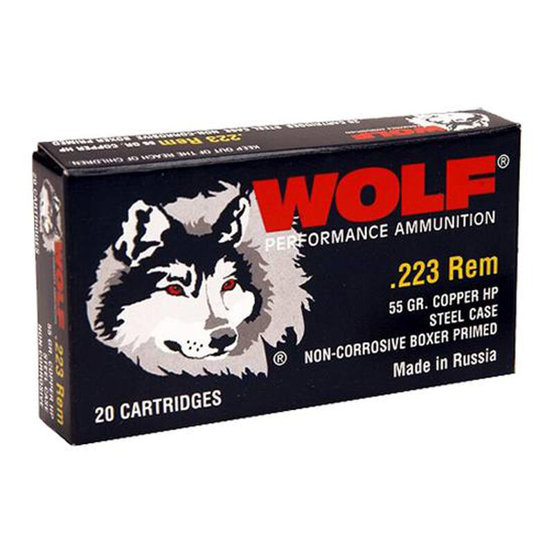 Wolf Polyformance  223 Remington Ammunition 55 Grain Bi-Metal Jacketed HP  Steel Cased 3241