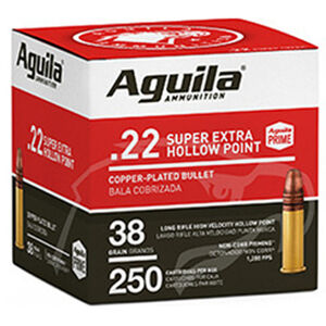 Aguila Super Extra .22 LR Ammunition 38 Grain Copper Plated Hollow Point 1280ps 250 Rounds