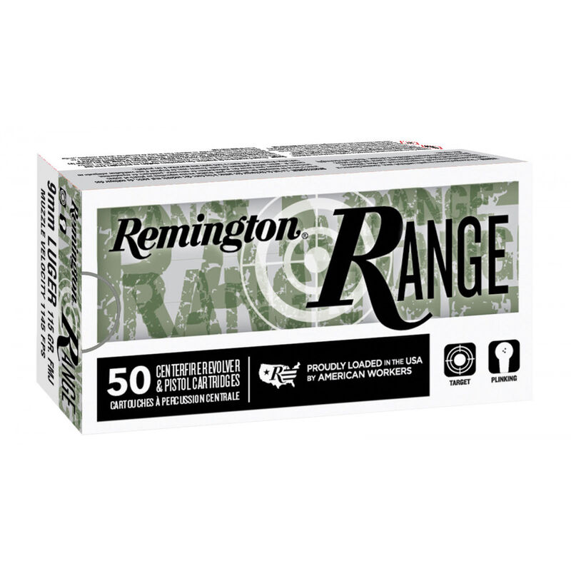 Remington RANGE 9mm 115 Grain Full Metal Jacket Ammunition 50 Rounds per Box T9MM3