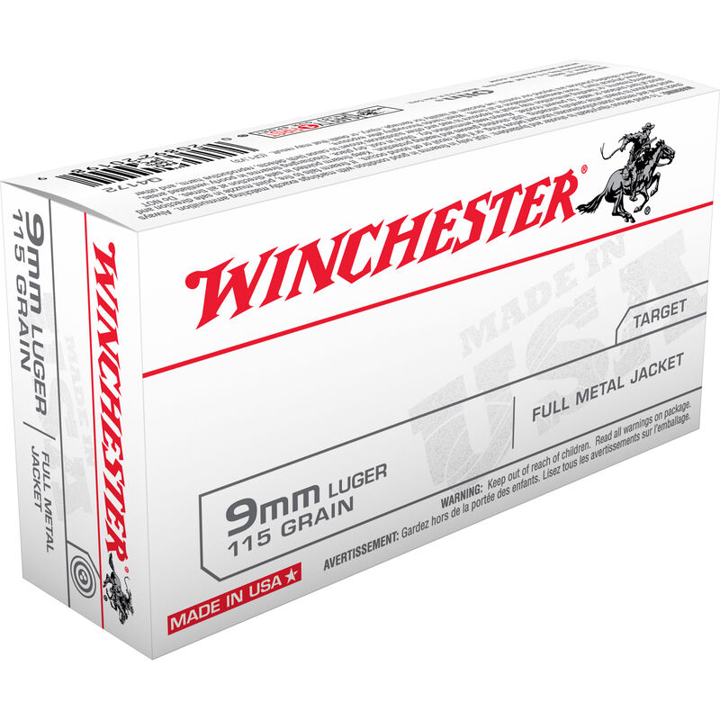 Winchester USA 9mm Luger Ammunition FMJ 115 Grain 1190 fps