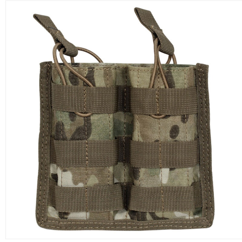 Voodoo Tactical AR-15/M4/M16 Open Top Double Magazine Pouch Bungee Retention System PALS Webbing Compatible Nylon Multi-Cam