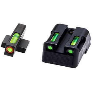 HiViz Litewave H3 Tritium/Litepipe fits Kimber 1911 Models Green Front Sight with Orange Front Ring/Green Rear Sight Steel Housing Matte Black