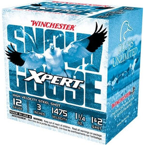 """Winchester USA Xpert Snow Goose 12 Gauge Ammunition 25 Rounds 3"""" Shell #1 and #2 Steel Shot 1-1/4oz 1475fps"""