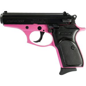 "Bersa Thunder .380 ACP Semi Auto Handgun 3.5"" Barrel 8 Rounds Synthetic Grip Panels Matte Pink/Black Finish"