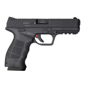 "Sarsilmaz USA SAR 9 Semi Auto Pistol 9mm Luger 4.4"" Barrel 10 Rounds Fixed Sights Striker Fired Accessory Rail Polymer Frame Black Finish"