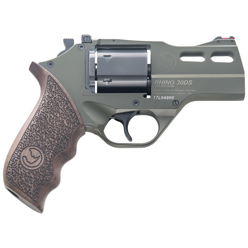 """Chiappa Rhino 30SAR Single Action Revolver .357 Magnum 3"""" Barrel 6 Rounds Aluminum Alloy Frame Wood Grips OD Green Finish"""