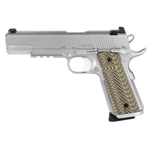 """Dan Wesson 1911 Specialist Government Semi Auto Pistol .45 ACP 5"""" Barrel 8 Rounds Fixed Night Sights G-10 Grips Stainless Steel Bead Blasted Finish"""