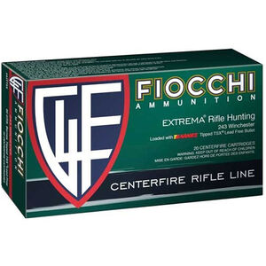 Fiocchi Extrema Leadless .243 Winchester Ammunition 20 Rounds 80 Grain Barnes Tipped TSX Lead Free Projectile 3275 fps