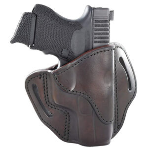 1791 Gunleather Open Top Multi-Fit 2.1 OWB Belt Holster for Sub Compact/Compact/Full Size Semi Auto Models Right Hand Draw Leather Signature Brown