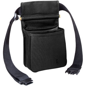 """Bob Allen Divided Shell Pouch with Belt 8""""x4""""x7"""" Twin Compartments Synthetic Fabric Black"""