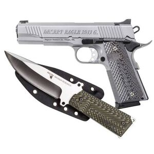 """Magnum Research Desert Eagle 1911 G with Knife Full Size Semi Auto Pistol .45 ACP 5"""" Barrel 8 Rounds Fixed Sights G10 Grips Carbon Steel Frame/Slide Stainless Steel Finish"""