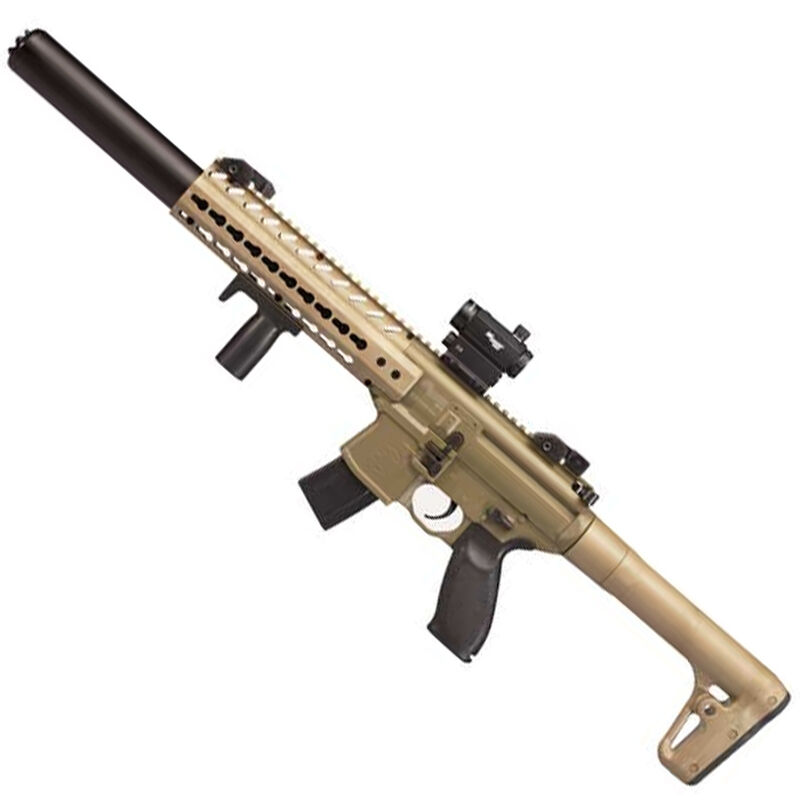 SIG Sauer MCX Semi-Automatic Air Rifle .177 Caliber 30 Rounds CO2 Powered Vertical Foregrip SIG20R Red Dot Optic Adjustable Sights Metal Housing Polymer Stock Flat Dark Earth