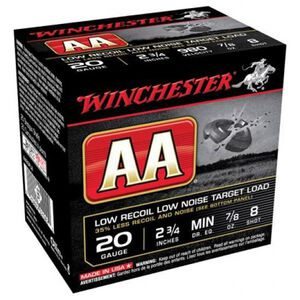 "Winchester AA Low Recoil 20 Gauge 2.75"" #8 Lead 25 Rounds"