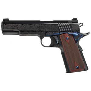 "Standard Manufacturing 1911 .45 ACP Semi Auto Pistol 5"" Stainless Steel Match Barrel Tactical Sights Engraved #1 Rosewood Double Diamond Grips Royal Blue Finish"