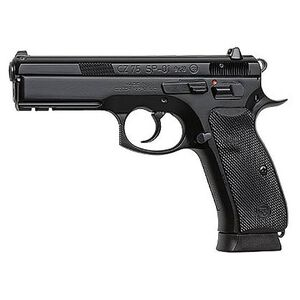 "CZ 75 SP-01 Semi Auto Handgun 9mm Luger 4.6"" Barrel 19 Rounds Rubber Grips Black Polycoat Finish 91152"