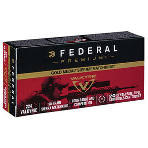 Federal Gold Medal Match .224 Valkyrie Ammunition 20 Rounds 90 Grain Sierra MatchKing Boat-Tail Hollow Point 2700fps