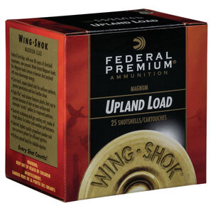 "Federal Wing Shok Magnum Upland Load 20 Gauge Ammunition 2-3/4"" #4 Copper Plated Lead Shot 1-1/8 Ounce 1175 fps"