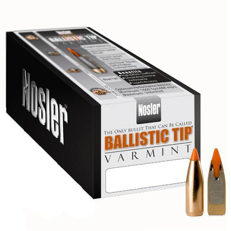 "Nosler .22 Caliber .224"" Diameter 40 Grain Spitzer Orange Ballistic Tip Varmint Bullet 250 Count 39555"