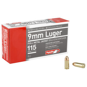 Aguila 9mm Ammunition 50 Rounds FMJ 115 Grain