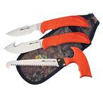 Outdoor Edge Wildguide Skinning, Caping and Saw Combo Knife Set Blaze Orange