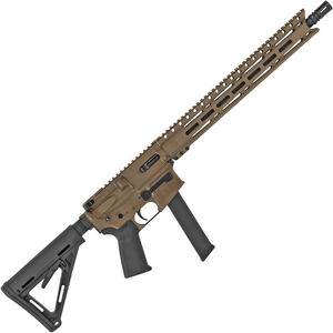 "Diamondback DB9RMLBB 9mm Luger AR-15 Semi Auto Rifle 16"" Barrel 31 Rounds Uses GLOCK Style Magazines 15"" M-LOK Handguard Collapsible Stock Burnt Bronze Finish"