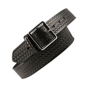 "Boston Leather Garrison Belt Value Line 1.75"" 36"" Waist Nickel Buckle Leather Basket Weave Black 6605-3-36"
