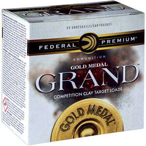 """Federal Gold Medal Grand 12 Gauge Ammunition 25 Rounds 2-3/4"""" #7.5 Lead Shot 1-1/8oz 1245 fps"""