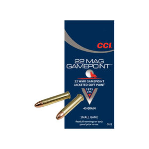 CCI .22 Magnum Gamepoint Ammunition 2000 Rounds JSP 40 Grain 1,875 FPS