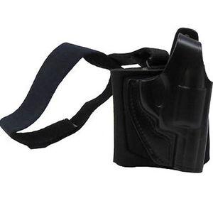 Gould & Goodrich Small Frame Revolver Ankle Holster Plus Garter Right Hand  Leather/Neoprene Black B816-62