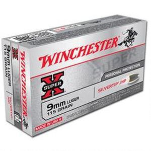 Winchester Super X 9mm Luger Ammunition 50 Rounds, Silvertip HP, 115 Grains