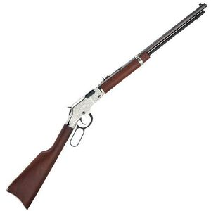 "Henry Silver Eagle Lever Action Rifle .22 LR 20"" Barrel 16 Rounds American Walnut Stock Nickel Receiver with Scroll Engraving H004SE"