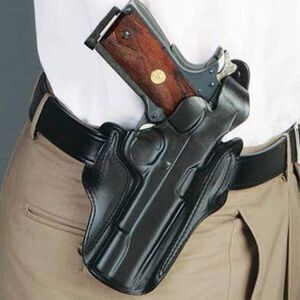 DeSantis 1CL Thumb Break Scabbard Belt Holster 1911 Compact/Officer's Right Hand Leather Black 1CLBA79Z0