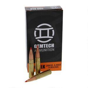 Gemtech .300 AAC Blackout Ammunition 20 Rounds 208 Grain Hornady A-Max Polymer Tip Projectile Subsonic